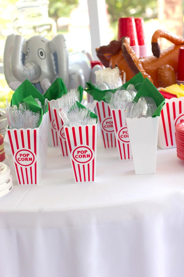 Popcorn Box Flatware from a Big Top Circus Birthday Party on Kara's Party Ideas | KarasPartyIdeas.com (4)