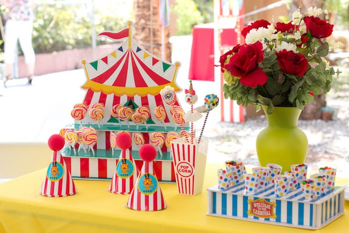 Circus Themed Sweet Table from a Big Top Circus Birthday Party on Kara's Party Ideas | KarasPartyIdeas.com (20)