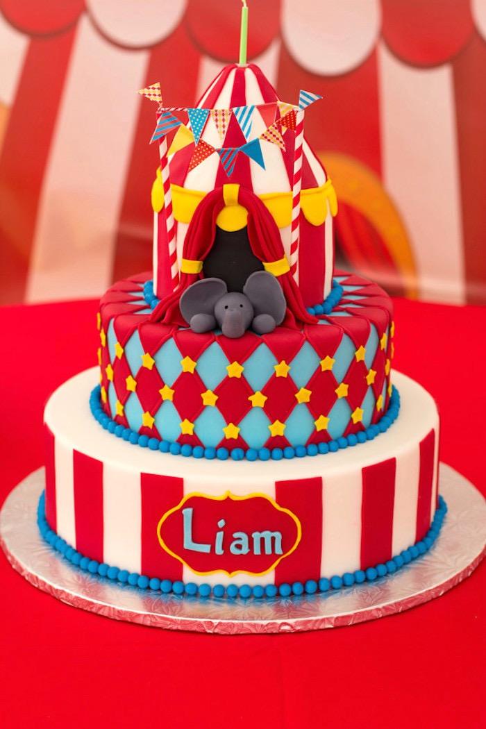 Big Top Circus Cake from a Big Top Circus Birthday Party on Kara's Party Ideas | KarasPartyIdeas.com (19)