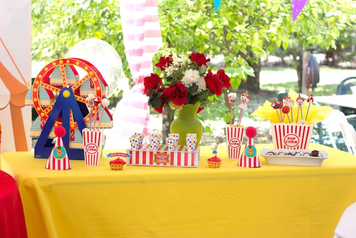 Circus Themed Sweet Table from a Big Top Circus Birthday Party on Kara's Party Ideas | KarasPartyIdeas.com (18)
