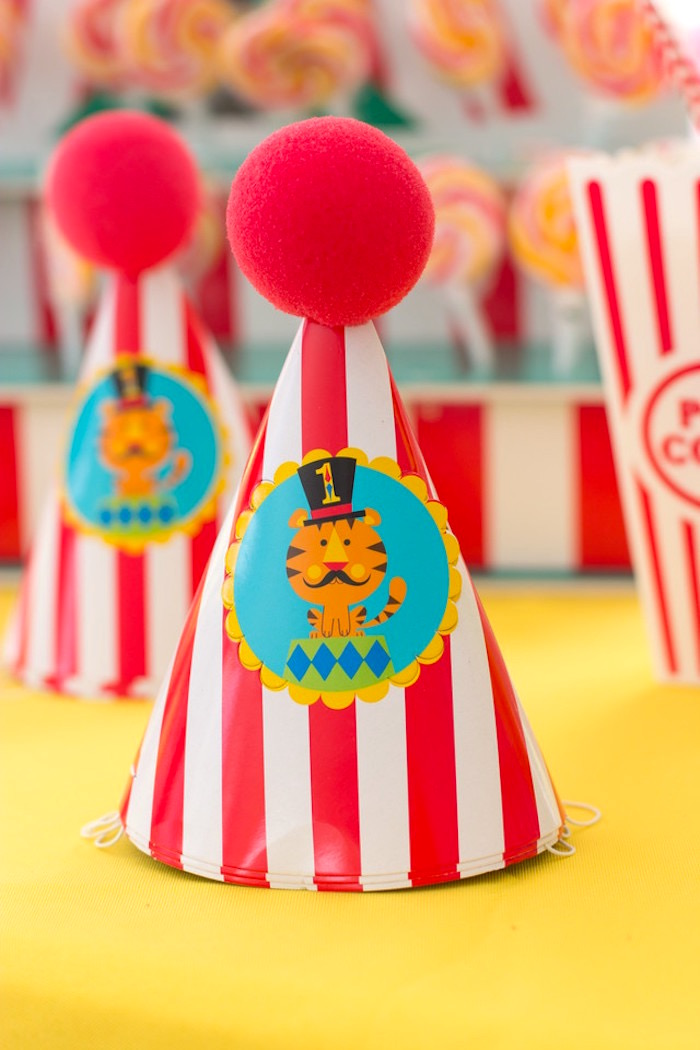Circus Party Hats from a Big Top Circus Birthday Party on Kara's Party Ideas | KarasPartyIdeas.com (17)
