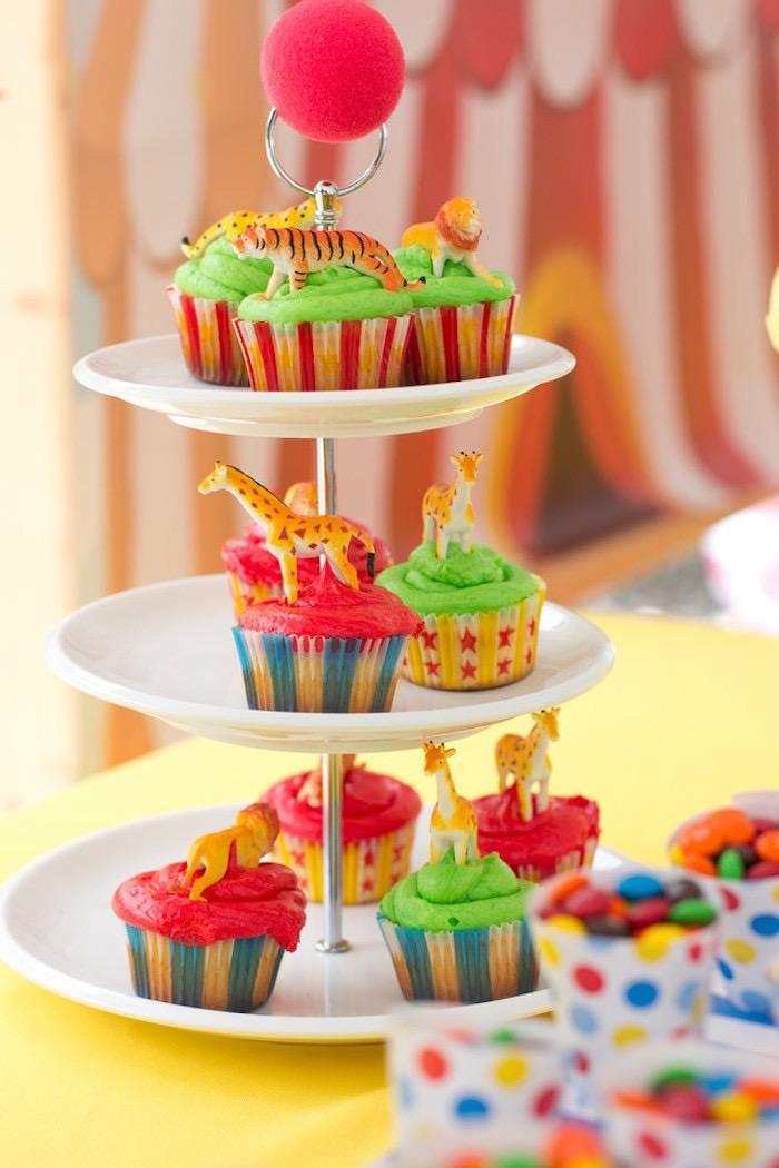 Circus Animal Cupcakes from a Big Top Circus Birthday Party on Kara's Party Ideas | KarasPartyIdeas.com (16)