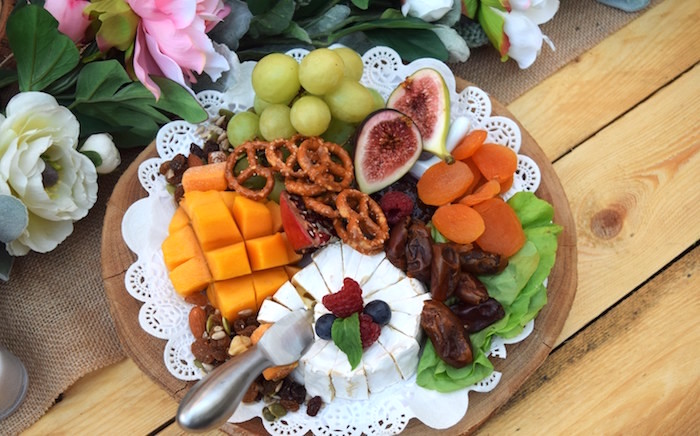 Cheese + Fruit Plate from a Boho Baby Shower on Kara's Party Ideas | KarasPartyIdeas.com (26)
