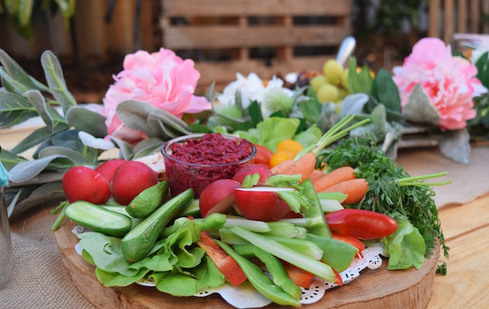 Fresh Veggie Plate from a Boho Baby Shower on Kara's Party Ideas | KarasPartyIdeas.com (22)