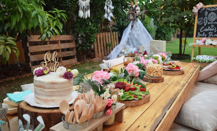 Boho Party Table from a Boho Baby Shower on Kara's Party Ideas | KarasPartyIdeas.com (21)