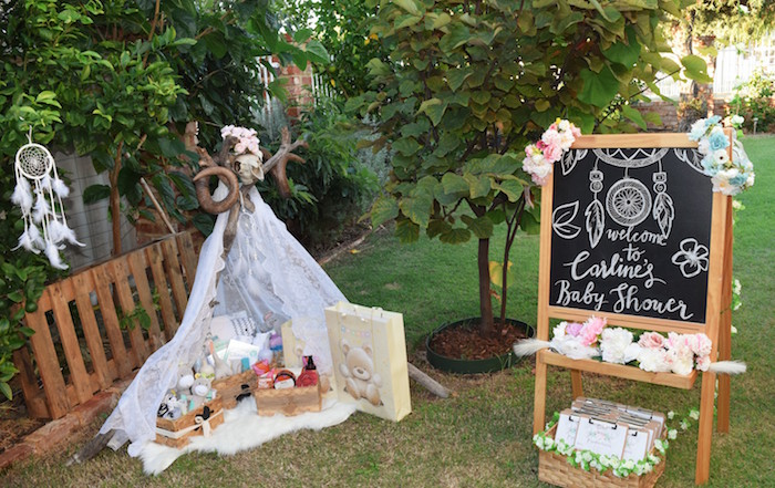 Gift Teepee from a Boho Baby Shower on Kara's Party Ideas | KarasPartyIdeas.com (19)