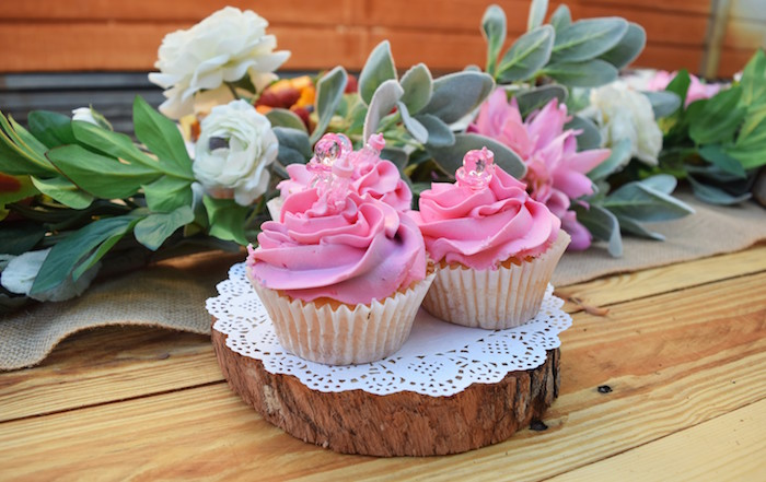 Pink Cupcakes from a Boho Baby Shower on Kara's Party Ideas | KarasPartyIdeas.com (15)
