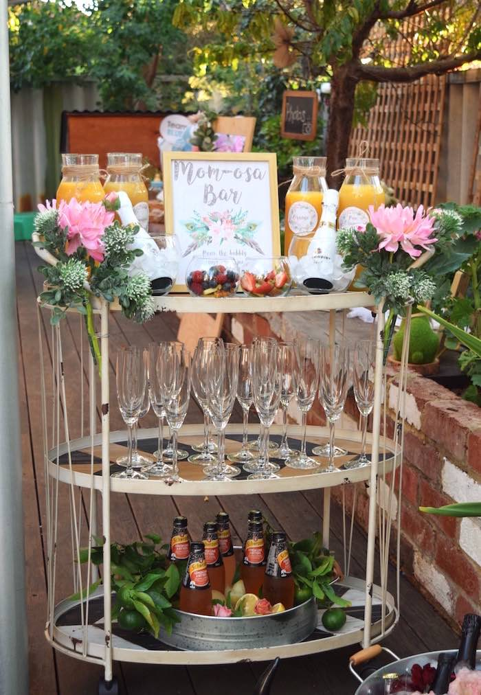 Mom-osa Bar from a Boho Baby Shower on Kara's Party Ideas | KarasPartyIdeas.com (11)