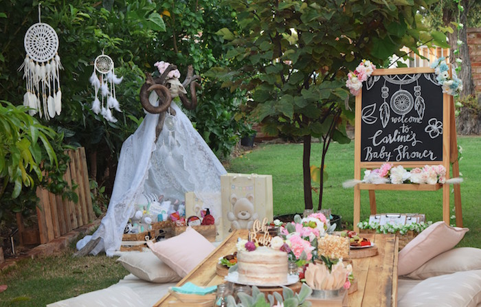 Boho Party Table from a Boho Baby Shower on Kara's Party Ideas | KarasPartyIdeas.com (35)