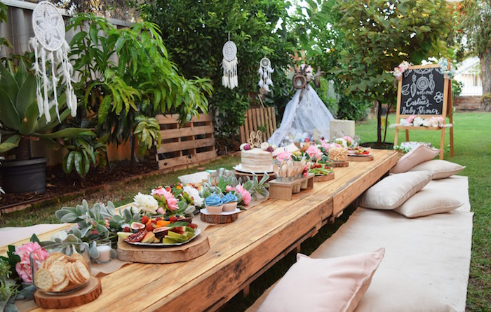 Low-seated Boho Party Table from a Boho Baby Shower on Kara's Party Ideas | KarasPartyIdeas.com (34)