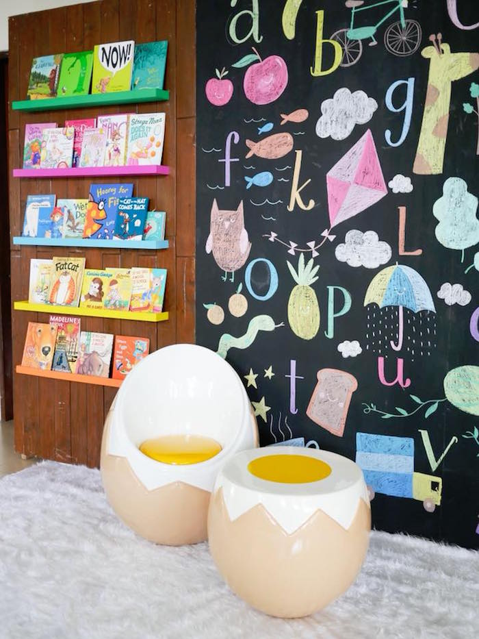 Reading Corner from a Bookworm Birthday Party on Kara's Party Ideas | KarasPartyIdeas.com (10)
