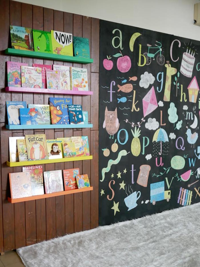 Reading Corner from a Bookworm Birthday Party on Kara's Party Ideas | KarasPartyIdeas.com (14)