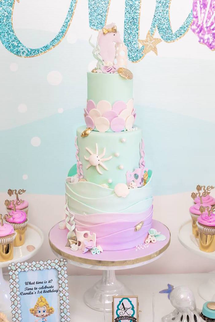 Under the Sea Cake from a Bubble Guppies Birthday Party on Kara's Party Ideas | KarasPartyIdeas.com (11)