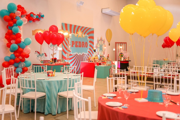 Circus Themed Guest Tables from a Circus + Amusement Park Birthday Party on Kara's Party Ideas | KarasPartyIdeas.com (5)