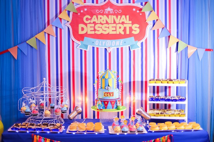 Carnival Dessert Table from a Circus + Carnival Birthday Party on Kara's Party Ideas | KarasPartyIdeas.com (12)