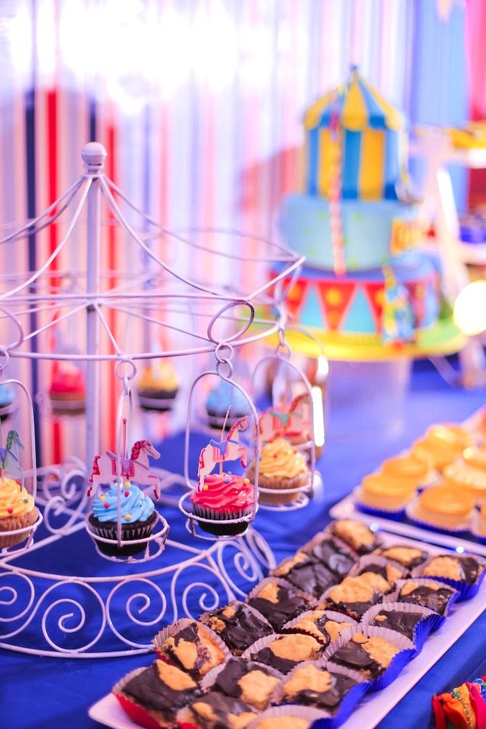 Carousel Cupcake Pedestal + Sweet Table from a Circus + Carnival Birthday Party on Kara's Party Ideas | KarasPartyIdeas.com (11)