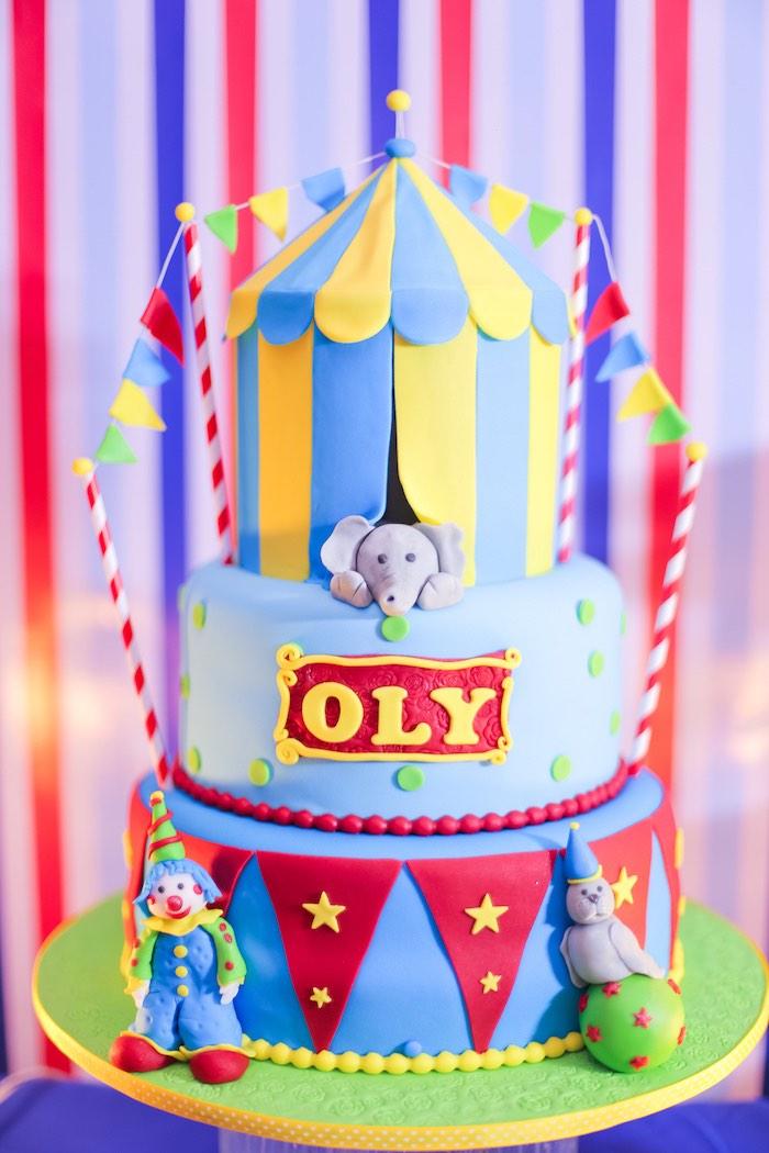 Circus Cake from a Circus + Carnival Birthday Party on Kara's Party Ideas | KarasPartyIdeas.com (10)