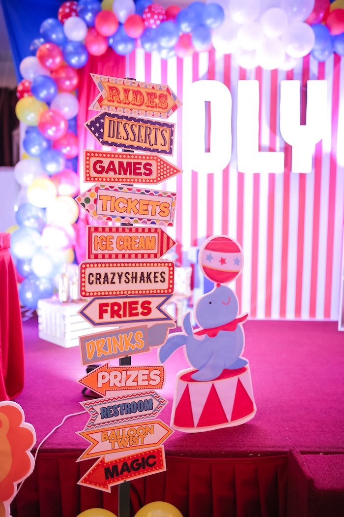 Carnival + Circus Signage from a Circus + Carnival Birthday Party on Kara's Party Ideas | KarasPartyIdeas.com (23)