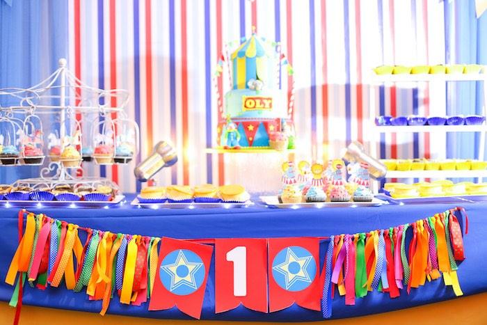 Cake Table from a Circus + Carnival Birthday Party on Kara's Party Ideas | KarasPartyIdeas.com (4)