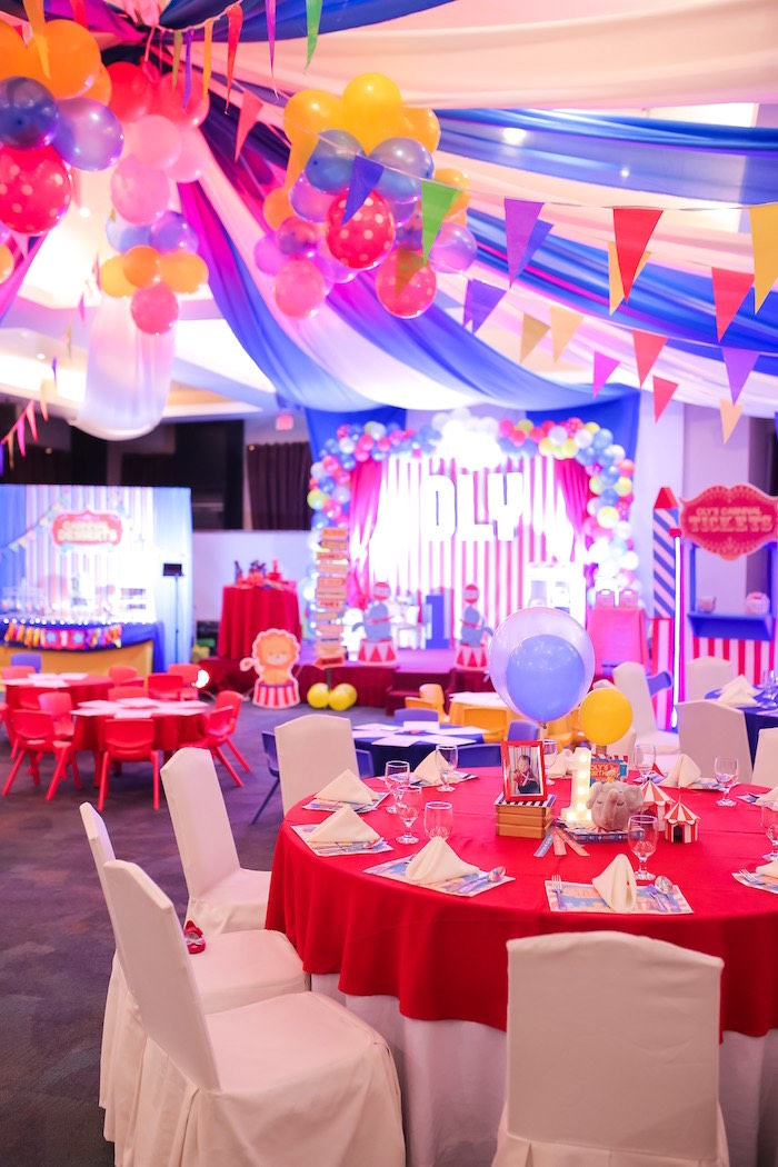 Red Guest Table from a Circus + Carnival Birthday Party on Kara's Party Ideas | KarasPartyIdeas.com (20)