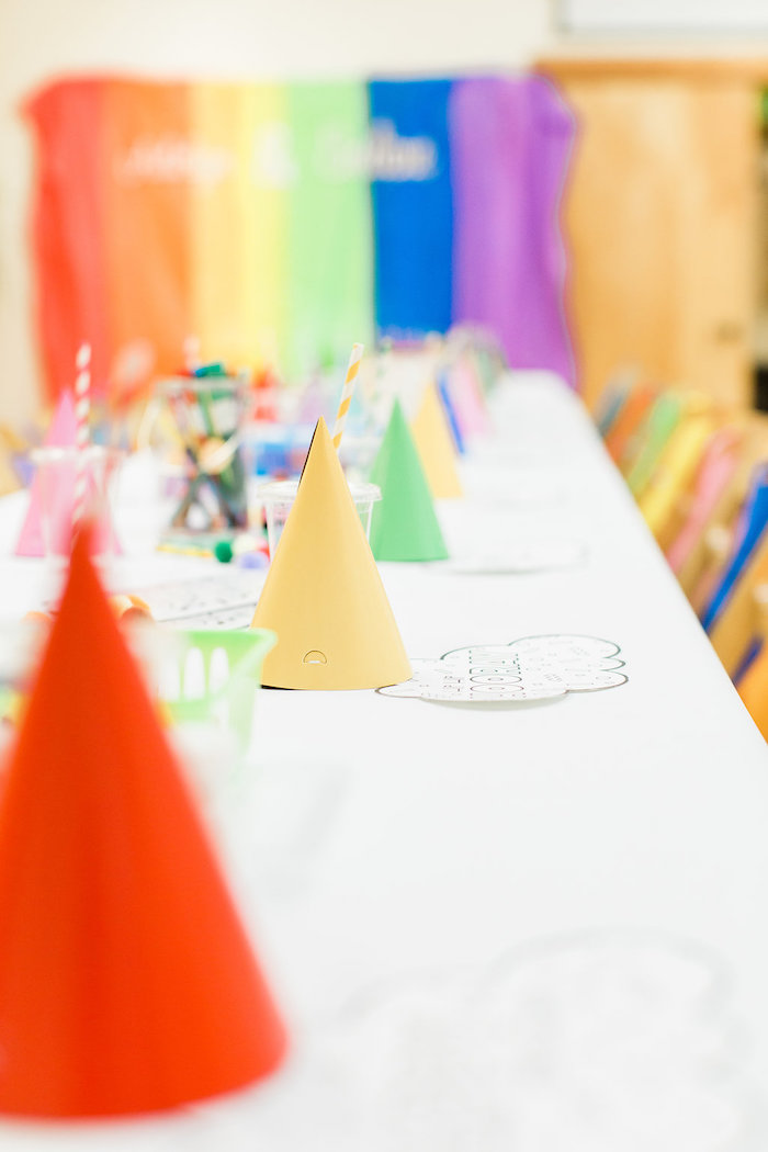 Party Hats + Guest Tablescape from a Colorful Art Party on Kara's Party Ideas | KarasPartyIdeas.com (28)