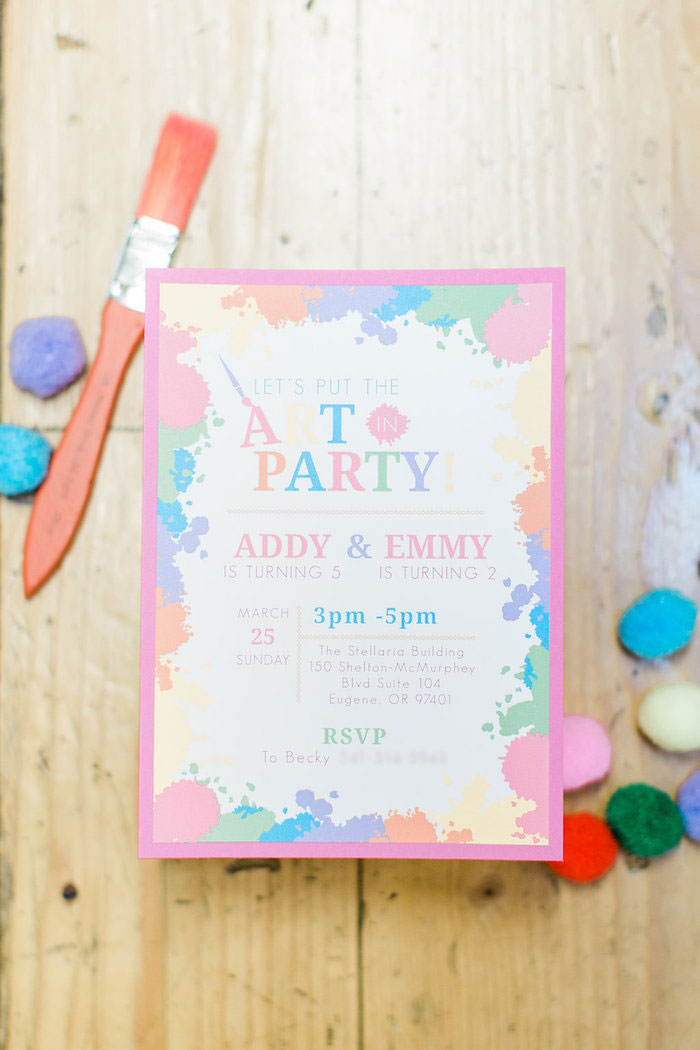 Art Party Invite from a Colorful Art Party on Kara's Party Ideas | KarasPartyIdeas.com (27)