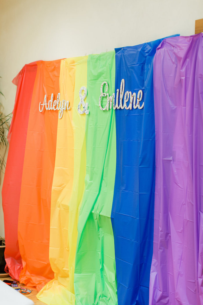 Rainbow Table Cover Photo Booth from a Colorful Art Party on Kara's Party Ideas | KarasPartyIdeas.com (26)