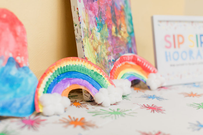 Paper Plate Rainbows from a Colorful Art Party on Kara's Party Ideas | KarasPartyIdeas.com (22)