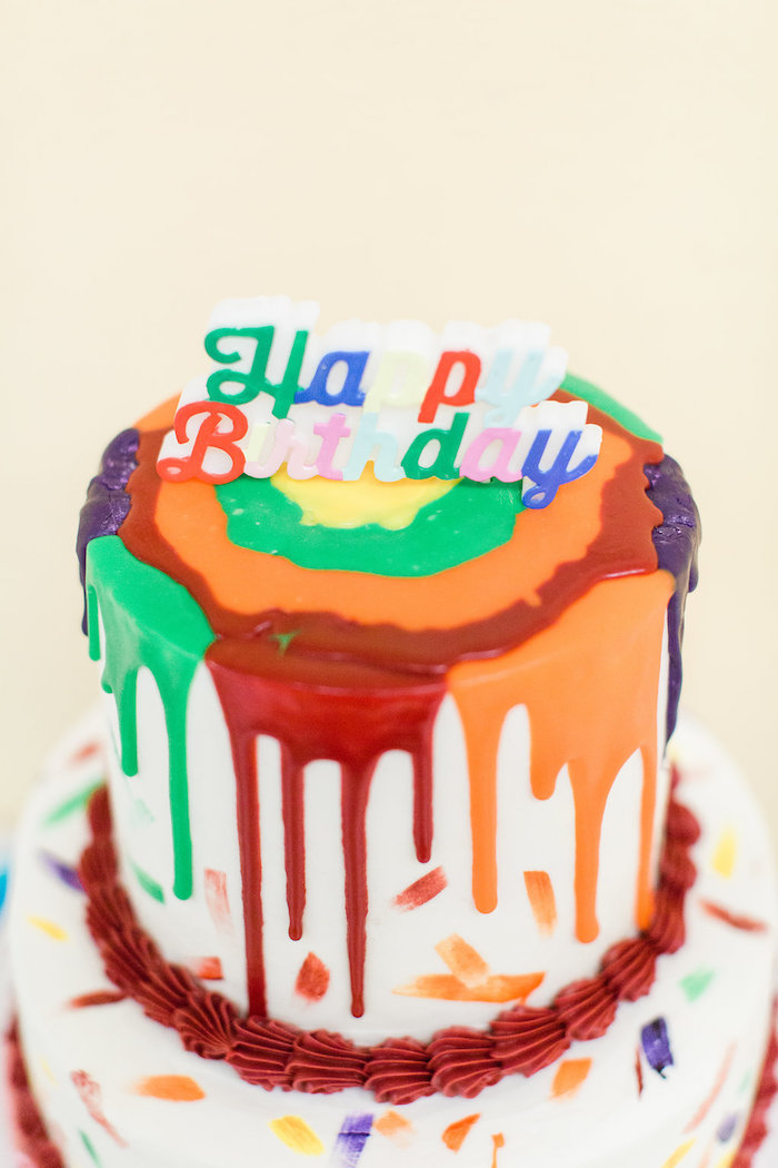 Paint Drip Cake from a Colorful Art Party on Kara's Party Ideas | KarasPartyIdeas.com (15)