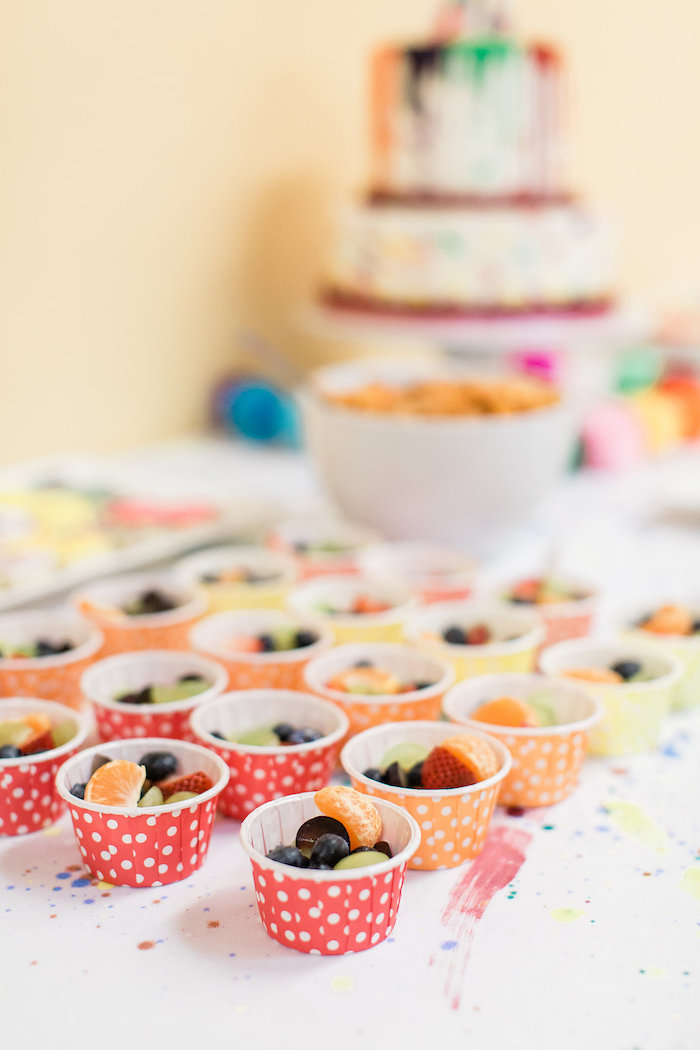 Fruit Cups from a Colorful Art Party on Kara's Party Ideas | KarasPartyIdeas.com (14)