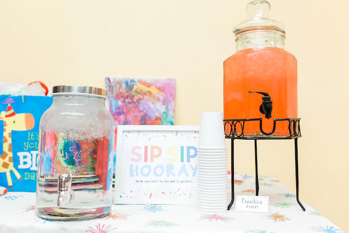 Sip Sip Hooray Beverage Table from a Colorful Art Party on Kara's Party Ideas | KarasPartyIdeas.com (9)