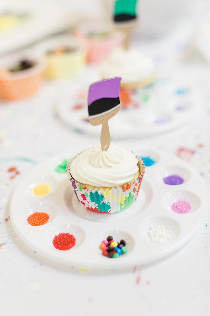 Paint Brush + Palette Cupcake from a Cupcake Decorating Activity from a Colorful Art Party on Kara's Party Ideas | KarasPartyIdeas.com (8)