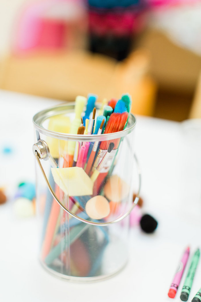 Clear Paint Bucket Centerpiece from a Colorful Art Party on Kara's Party Ideas | KarasPartyIdeas.com (33)