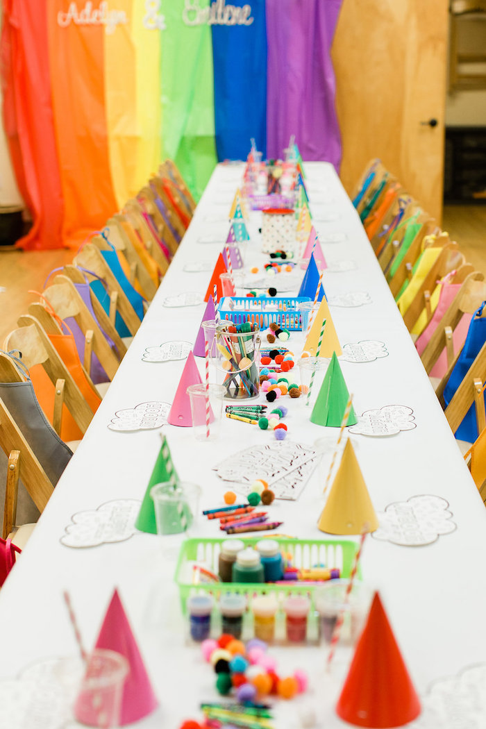 Art Party Guest Table from a Colorful Art Party on Kara's Party Ideas | KarasPartyIdeas.com (32)