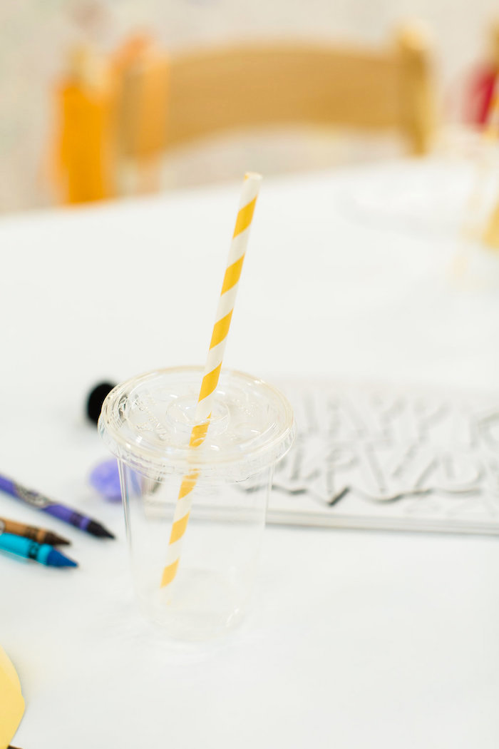 Clear Drink Cup with Colorful Paper Straw from a Colorful Art Party on Kara's Party Ideas | KarasPartyIdeas.com (31)