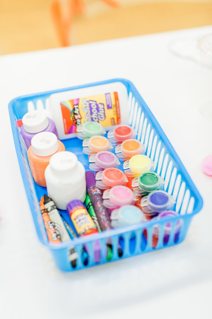 Art Supply Basket from a Colorful Art Party on Kara's Party Ideas | KarasPartyIdeas.com (29)
