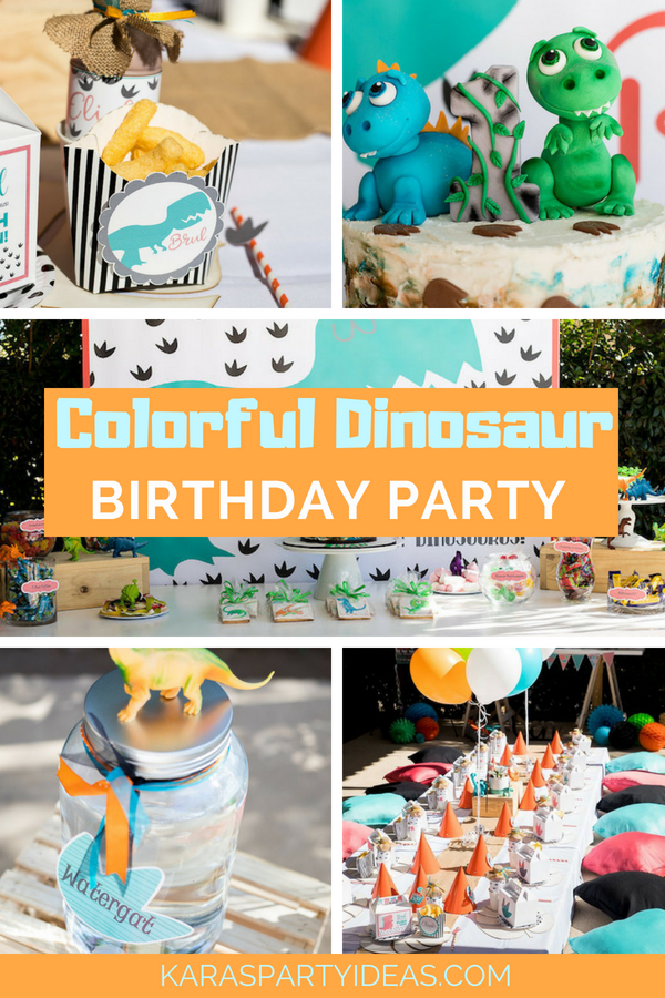 Kara S Party Ideas Colorful Dinosaur Birthday Party Kara