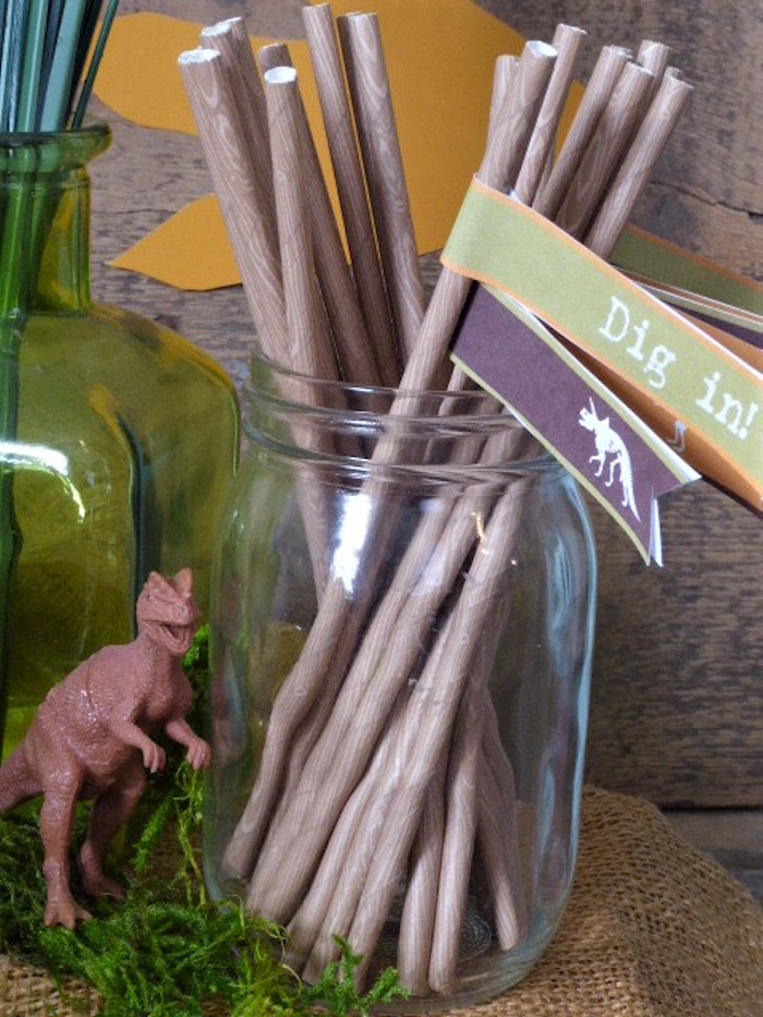 Dinosaur Party Straws from a Rustic Dinosaur Birthday Party on Kara's Party Ideas | KarasPartyIdeas.com