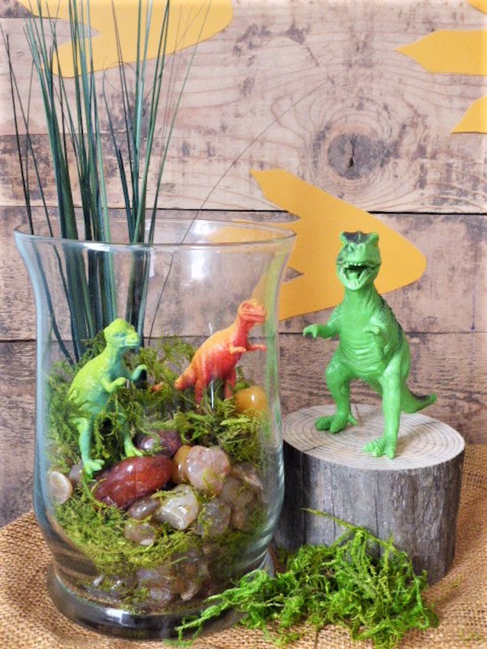 Dinosaur Terrarium from a Rustic Dinosaur Birthday Party on Kara's Party Ideas | KarasPartyIdeas.com