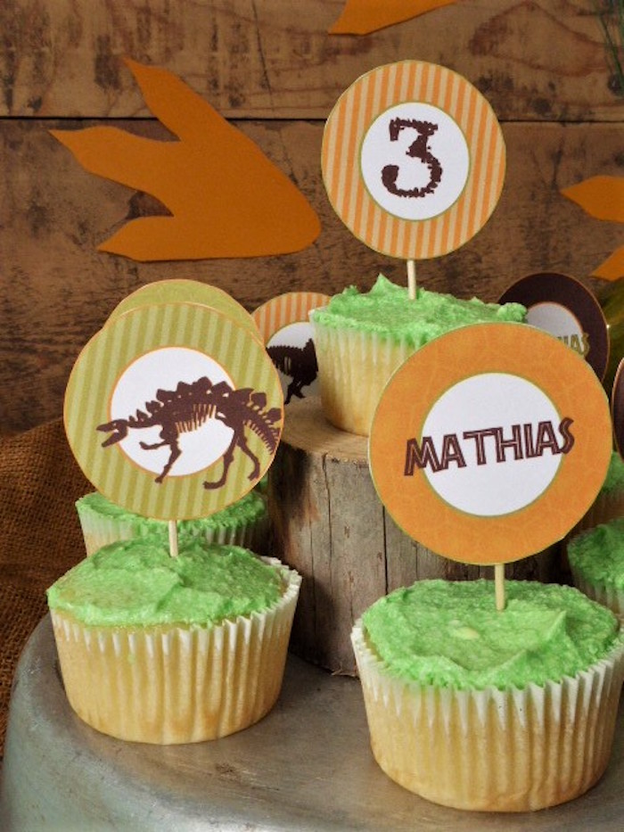Dinosaur Cupcakes from a Rustic Dinosaur Birthday Party on Kara's Party Ideas | KarasPartyIdeas.com
