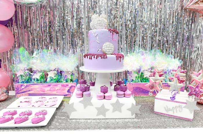 Disco Dessert Table from a Disco Art Birthday Party on Kara's Party Ideas | KarasPartyIdeas.com (14)