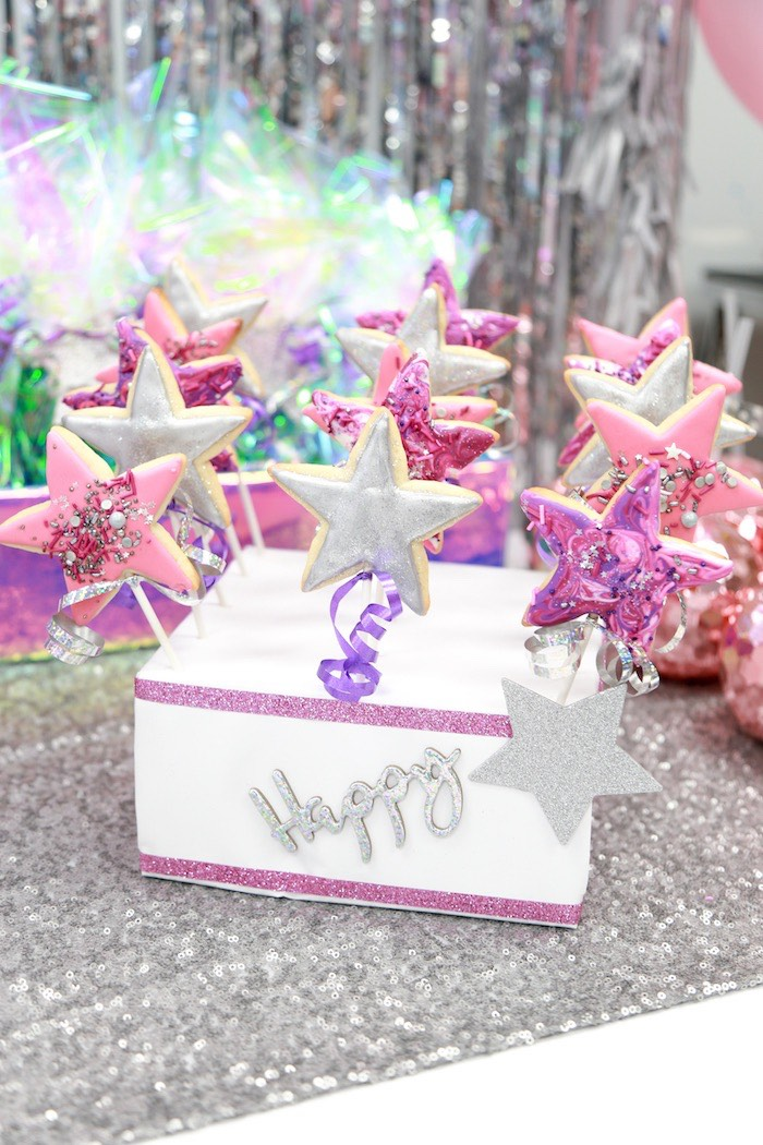 Star Cookie Pops from a Disco Art Birthday Party on Kara's Party Ideas | KarasPartyIdeas.com (13)