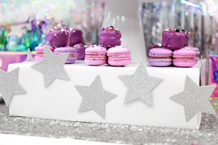 Macarons atop a Glitter Star Pedestal from a Disco Art Birthday Party on Kara's Party Ideas | KarasPartyIdeas.com (12)