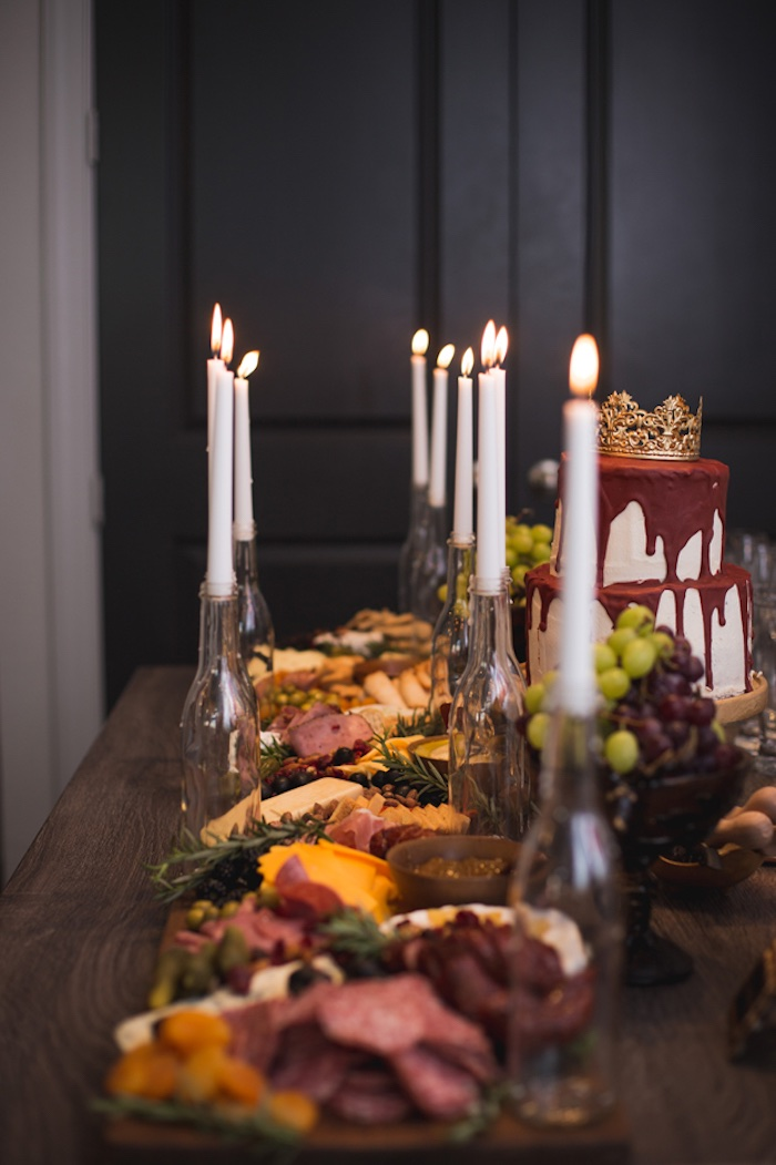 Charcuterie Platter Lined Table from an Epic Game of Thrones Party on Kara's Party Ideas | KarasPartyIdeas.com (21)