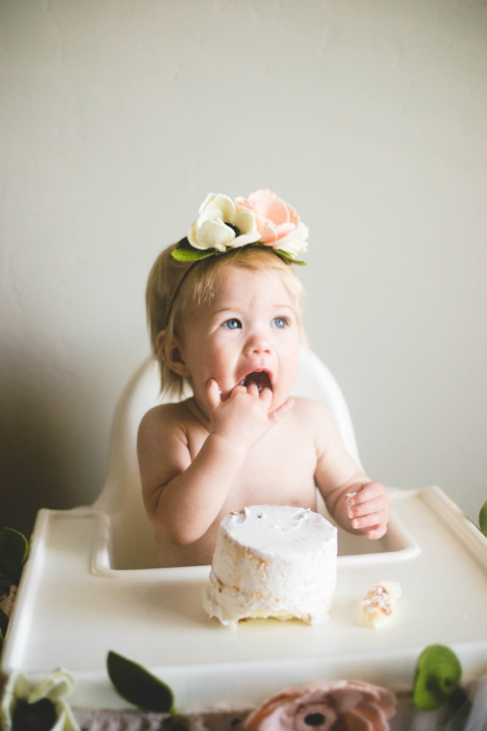 Cake Smash from a Floral First Birthday Party on Kara's Party Ideas | KarasPartyIdeas.com (9)