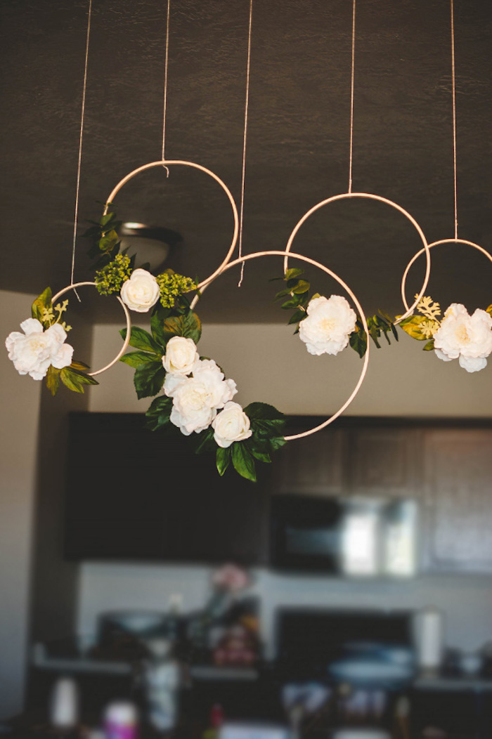 Floral Hoop Wreaths from a Floral First Birthday Party on Kara's Party Ideas | KarasPartyIdeas.com (4)