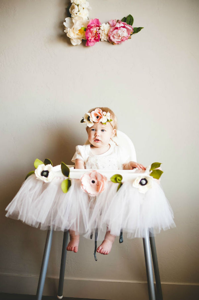 Felt Flower & Tulle Highchair Banner from a Floral First Birthday Party on Kara's Party Ideas | KarasPartyIdeas.com (3)