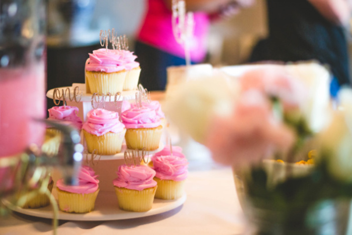 Pink Cupcakes from a Floral First Birthday Party on Kara's Party Ideas | KarasPartyIdeas.com (17)