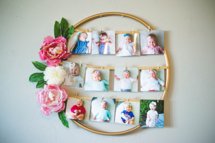 Floral Hoop Picture Frame from a Floral First Birthday Party on Kara's Party Ideas | KarasPartyIdeas.com (16)