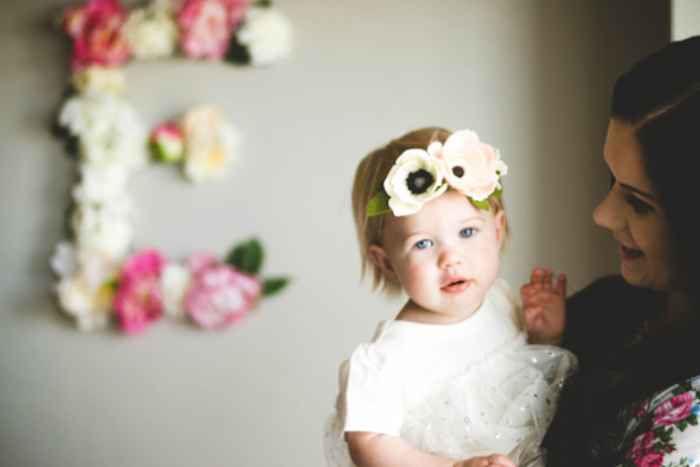 Felt Flower Headband from a Floral First Birthday Party on Kara's Party Ideas | KarasPartyIdeas.com (15)